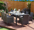 Rattan Garden Furniture Dining Table Set 8 Cube Chairs Conservatory Patio