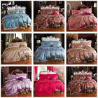 Lace Queen/King Size Doona Duvet Quilt Cover Set Satin Bed Flat Sheet Set New