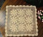 Square 24'' 32'' 44'' Beige Handmade Cotton Crochet Lace Tablecloth Doilies G06