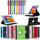 Rotating Stand Folio Wallet Leather Hard Case Cover For Samsung Tablet + Stylus