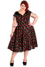 HELL BUNNY CHERRY POP 50'S DRESS BLACK RED 18-22 PLUS SIZE ROCKABILLY WEDDING