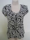 BANANA REPUBLIC Women Black White Print Ruffled Blouse Size XS,S NWT