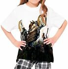 Robot Owls Next To Woman Archer Girl's Kid Youth T-Shirts Tee Age 3-13
