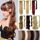 100% Natural Ponytail Clip in hair extension Curly Straight Black Pony Tail FI3