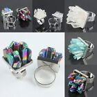 Rock/Rainbow Flame Aura Quartz Druzy Cocktail Adjust Adjustable Cluster Rings