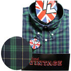 Warrior Short Sleeve Button Down Shirt MATLOCK Mod Skinhead Green Blue Yellow