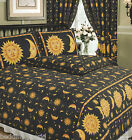 SUN AND MOON BLACK SPECKLE STARS BORDER FACE YELLOW GOLD BEDDING OR CURTAINS