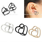 Punk Cut Out 3D Hollow Love Heart Steampunk Men Women Ear Stud Earrings Piercing