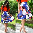 Sexy Floral Swing A Line Women's Long Skater Flared High Waist Skirt Midi Dress