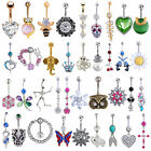 14g Dangle Crystal Gem Belly Button Ring Navel Barbell Bar Body Piercing Jewelry
