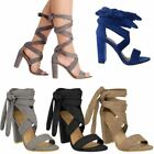 WOMENS LADIES NEW HIGH BLOCK HEEL PEEP TOE LACE UP LEG SANDALS PARTY SHOES SIZE