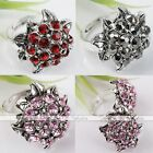 1x Crystal Tibetan Silver Plated Sunflower Cocktail Party Finger Ring Charm Gift