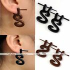 2x Mens Punk 14G Tribal Resin S Shape Taper Fake Cheater Ear Plug Earring Gothic