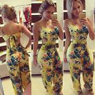New Women's Backless Floral Bodycon Jumpsuit Pants Clubwear Bandage Dress 2016