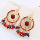 1 Pair Women Bohemia Water Dangle Hook Beads Tassel Earings Jewelry