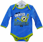 Baby Monsters Inc Mike Bodysuit Long Sleeve Babygrow Disney Blue Vest Top