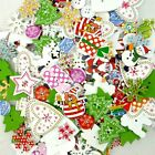 Mixed Christmas Shoes Tree Snowman Wooden Button/Flatback Lot Craft Embellish