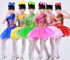 New Girls Sequined One Shoulder Latin Salsa Dance DRess Kids Party Dance Costume