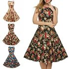 1950s Vintage Floral Rose Boat Neck Rockabilly Housewife Pin Up Dress S-XXL