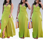 Sexy Women's Yellow Sleeveless V Neck Full Length Slit Maxi Sash Belt Dress