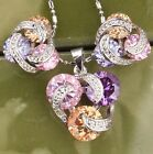 Multigem Multicolor Topaz Amethyst Morganite Jewelry Set Pendant Earrings B8202