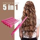 Hair Curler Roller 5 in 1 Functions 5 Curling Irons Wand Set Pink/Black F8O5