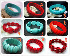 """New Fashion Blue  Red Turquoise Beads Stretch Gemstone Bracelet 8"""" BB02A"""