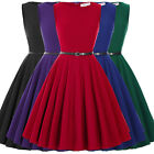 Womens Vintage Retro 1940s 50s Dress Flared Cocktail Party Belt Swing Dresses