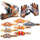 O'Neal 3 Series Shocker Orange Combo Set MX DH Moto Cross Helm Brille Handschuhe