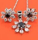 Delicate Snow Flowers Black Sapphire Silver Jewelry Set Pendant Earrings B8455