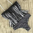 Casual Women Bikini Set Black White Dots Tassel Swimsuit Swimwear UK