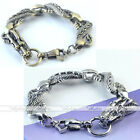 Vintage Men's Punk Silver Bronze Carved Dragon Link Chain Loop OT Clasp Bracelet
