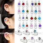 Trendy CZ Crystal Fake Ear Helix Stud Ear Bone Folder U Shape Clip Steel Earring