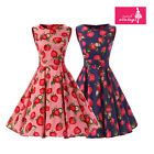 Women's Pink Blue Strawberry Print Vintage Sleeveless 50s Rockabilly Swing Dress