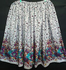 LADIES PLUS SIZE SKIRT LILAC FLORAL BORDER HANDMADE IN UK size 30 32 34 36 38 40