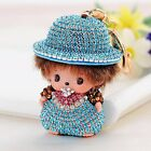 Punk Monchichi hat girl key chain rhineston fashion doll Purse Messenger keyring