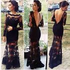 2016 Sexy Women Long Sleeve Lace Backless Evening Gown Formal Maxi Long Dress