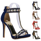 Damen Perlen Sandaletten Strass High Heels Riemchen Party Schuh 811346 New Look
