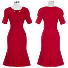 NEW Womens Red Vintage 50s 60s Retro Evening Party Dress Prom Ball Short Sleeve