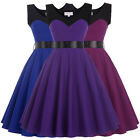 Womens Casual Retro Vintage 1950s Cocktail Party Dress Flared Pin Up Swing Prom
