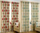 TRADITIONAL TRAILING LEAF EYELET RING TOP READY MADE FULLY LINED COTTON CURTAINS