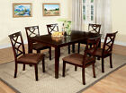 Dining Room Furniture in Dark Walnut Finish Dining Table w/ 6 Chairs Set