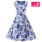 Women's Blue and White Floral Vintage Sleeveless 50s Rockabilly Swing Dress