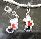 Hearts Red, White and Black Enamel European Charm or Clip On