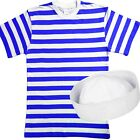 Mens SAILOR fancy dress costume Blue White striped TSHIRT + HAT outfit Stag