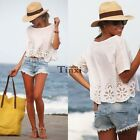 New Fashion Women Casual Short Sleeve Chiffon T-shirt Tops Blouse Crop Tee TXCL