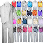 7pc Boy Kid Teen White Formal Wedding Party Suit Tuxedo Color Vest Necktie 8-20