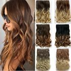 Real Ombre Clip in Hair Extensions Crazy color Curly Grey Blonde Black Human DF3
