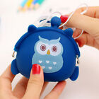 1X Girl Coin Purse Owl Print Silicone Wallet Change Purse Keyring Pouch10*9cm FM