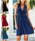 Hot European American Sexy Deep V Skirt Fashion Simple Solid Color Slim Dress